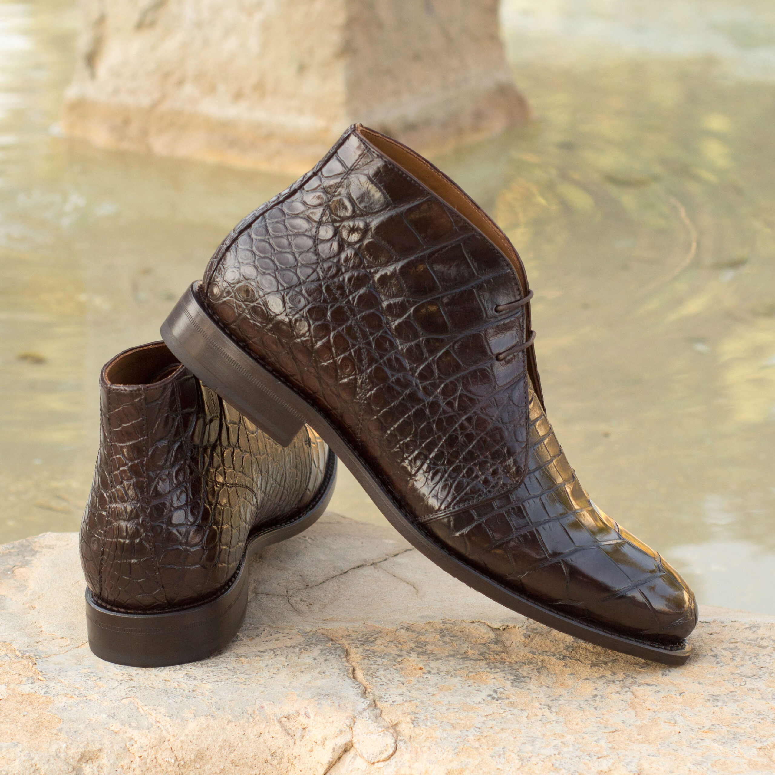 Chukka boots en alligator exotique et cuir de veau