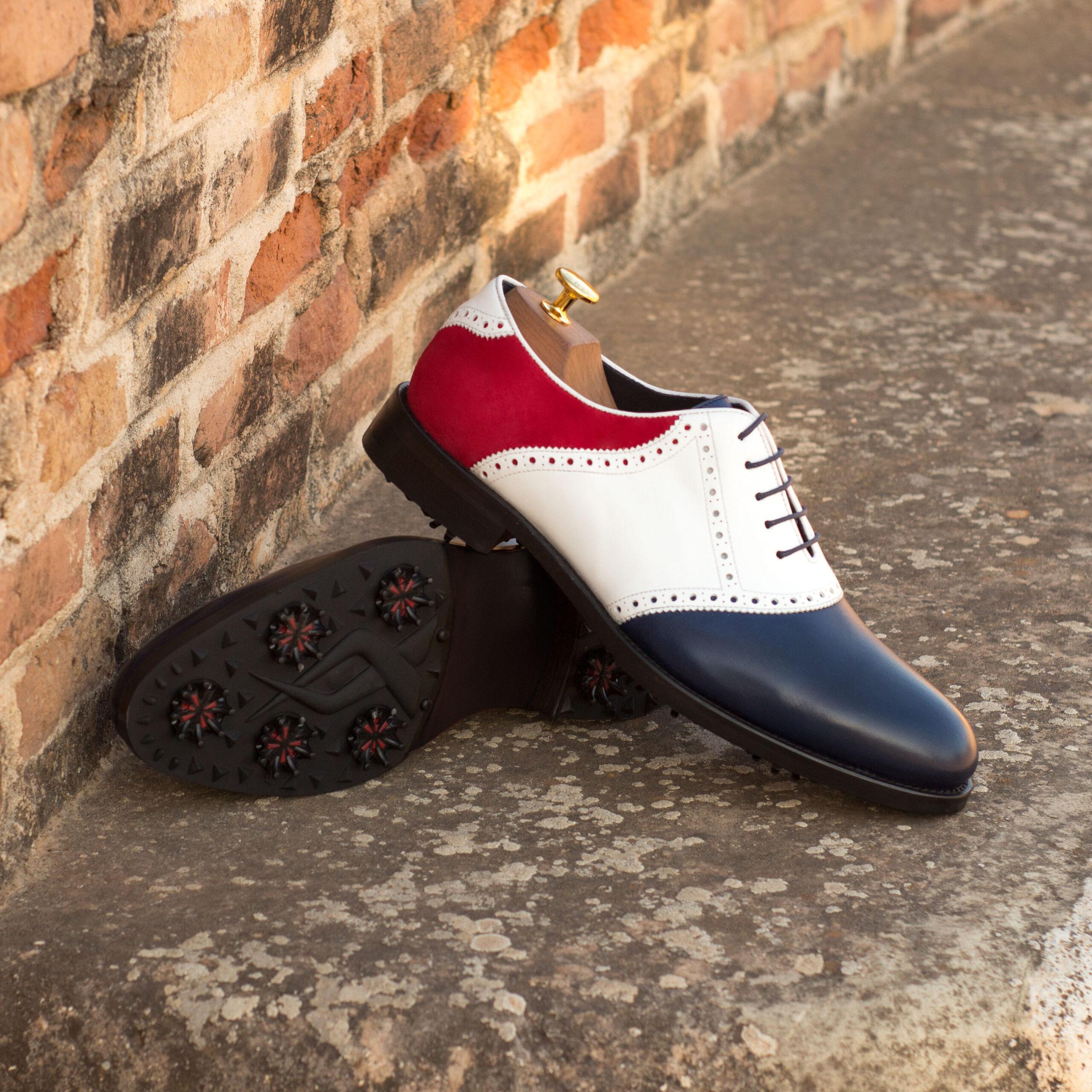 Chaussure plate à crampons golf en cuir de veau et daim