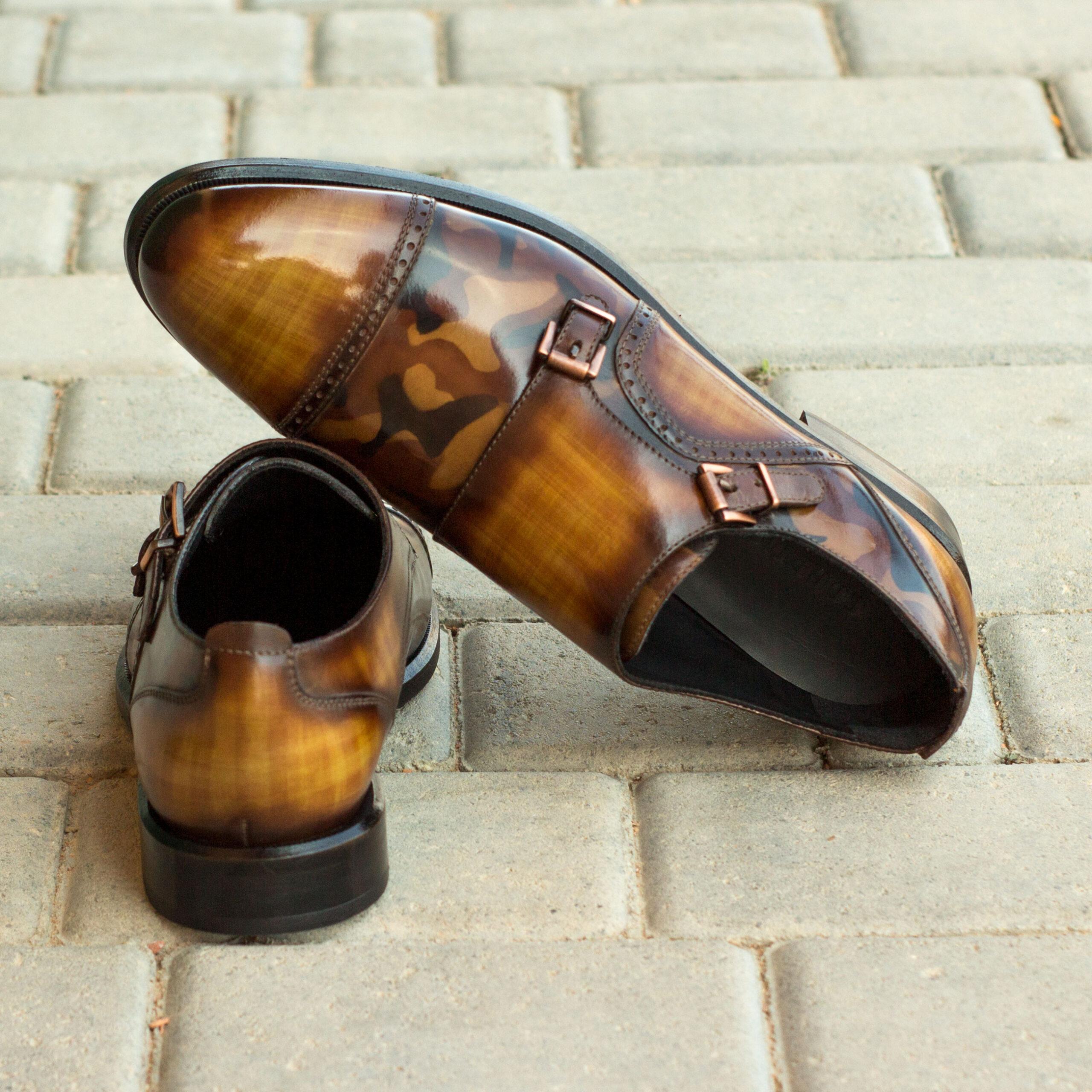 Chaussure Double boucles femme patine cognac et camo