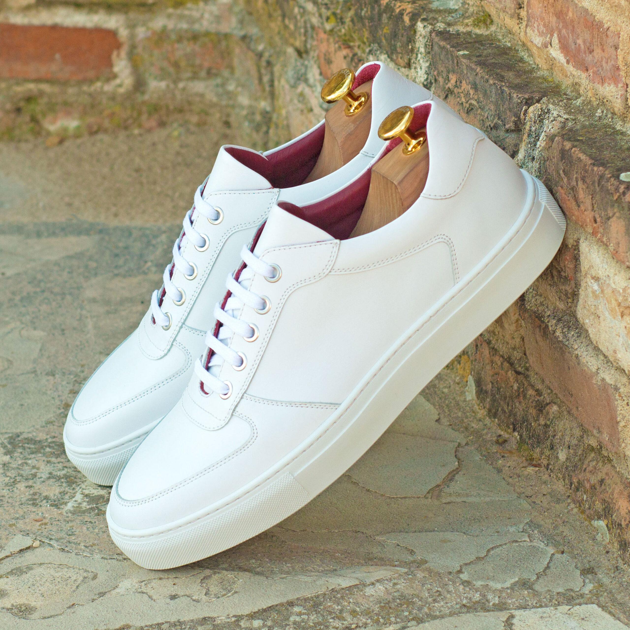 Sneakers basses en veau blanc et rouge